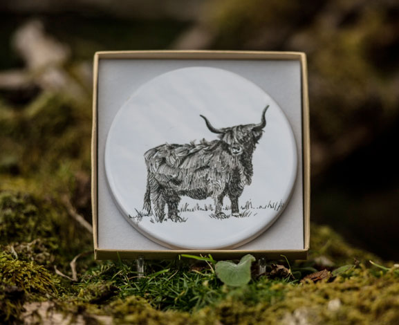 Ceramic Coaster Highland Cow